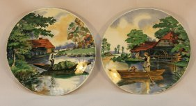 A Pair Of Glazed Ceramic Villeroy Plates