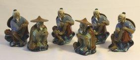 Group Of Six Ceramic Oriental Figures