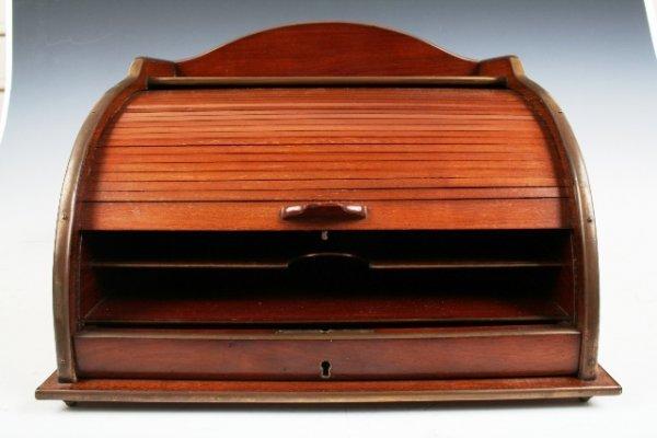 44 Wood Rolltop Desk Organizer Probaby 19th C Lot 44