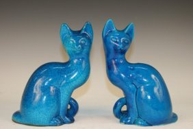 Pair Of Ceramic Cat Sculptures Ca. 1960s