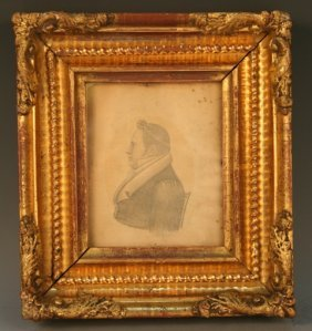 Portrait Profile Of Man Mid-19th C. Drawing