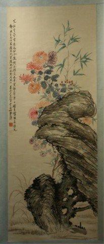 Chinese Scroll Of Flowers Attrib. Zhang Daqing