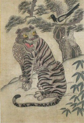 Antique Korean Tiger Painting On Hand-Woven Silk