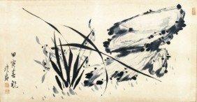 Korean Orchids & Rocks Painting By Hyu Woon San