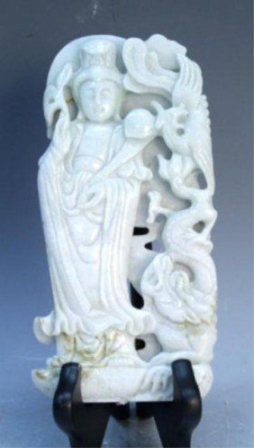 Chinese White Jade Guanyin With Phoenix And Dragon