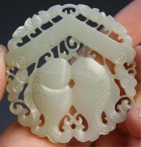 Chinese Small Jade Circular Pendant W/ Fish Liao