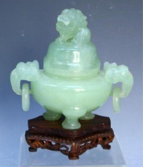 Chinese Small Carved Jade Tripod Censer
