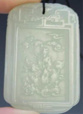 Chinese White Jade Plaque Amulet With Figure