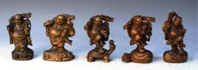 Chinese Set Of 5 Small Carved Boxwood Buddhas
