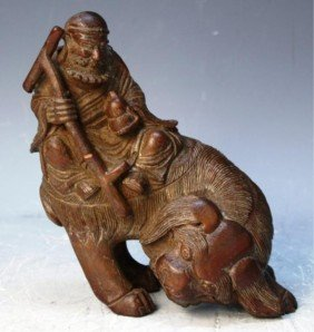 Chinese Bamboo Carving Of Man Riding Animal
