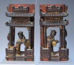 Chinese Pair Of Lacquer Temples W/ Figures