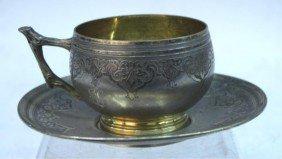 German Silver Teacup & Saucer W/ Monogram