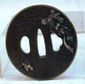 Japanese Bronze Tsuba W/ Clouds & Creature