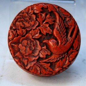 Chinese Cinnabar Box W/ Bird & Flowers