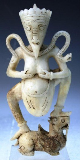Chinese White Jade Carved Figure With Animal