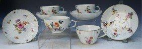 Set Of 4 Meissen Porcelain Tea Cups & Saucers