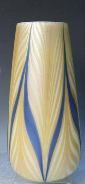 Durand Blue And Yellow Art Glass Vase