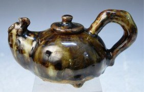 Chinese Copper Red & Teadust Ceramic Teapot