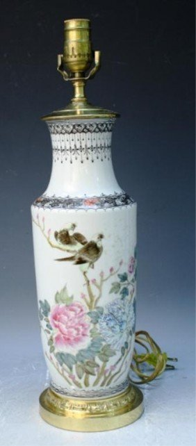 Chinese Vase Lamp With Bird & Flower Motif