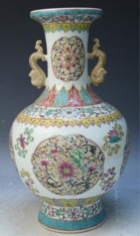 Chinese Famille Rose Porcelain Vase W/ Flowers