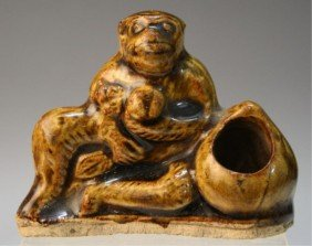 Chinese Brown-Glazed Monkey Brushrest Ming Dynasty
