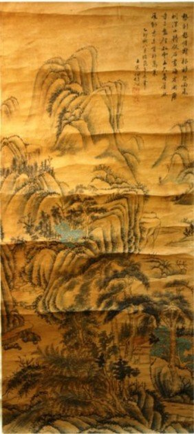 Chinese Landscape Scroll Painting Attr Wang Zhan