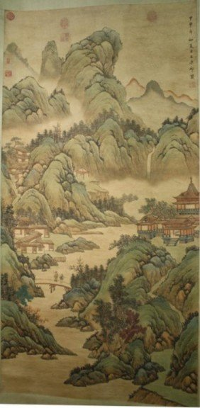 Chinese Landscape Scroll After Wang Yuan Qi