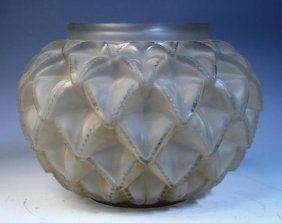 Rene Lalique Glass Pinecone Shaped Vase