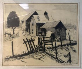 Harry Hering Etching Of Farmhouse