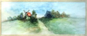 Watercolor Painting Of Windmill