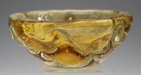 Yellow Glass Ashtray