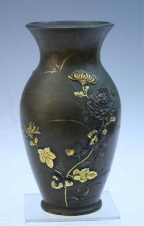 Bronze Vase With Flower Appliques