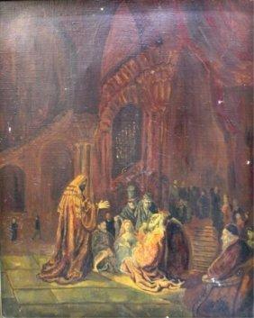 Painting Of Interior Prayer Scene 1935