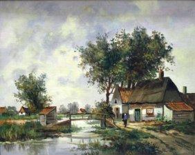 Martin Lenterman Painting Of Bridge & Village