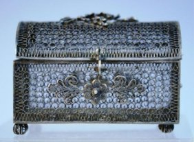 Small Filigree Box Topped With Grapes