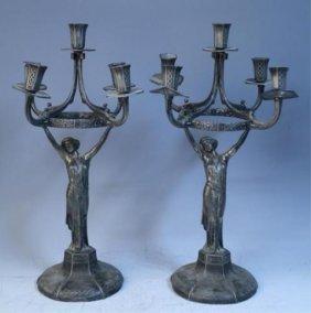 Pair Of Pewter Art Nouveau Candelabras German