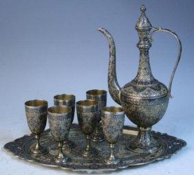 8 Pc. Silver & Niello Persian-Style Tea Set