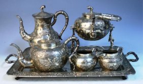 7 Pc. Cheong Shing Chinese Export Silver Tea Set
