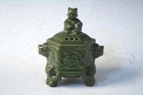 Chinese Celadon Glaze Tripod Censer