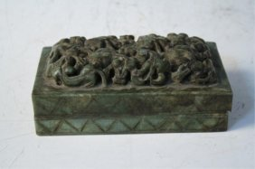 Chinese Carved Green Ink Stone