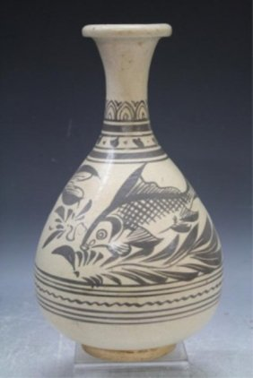 Chinese Pottery Vase W/ Fish Yuan Dyn.