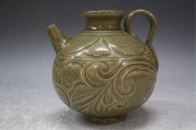 Chinese Pottery Pitcher W/ Green Glaze