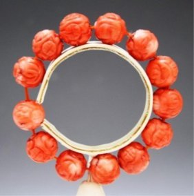 Chinese Carved Coral Beaded Bracelet