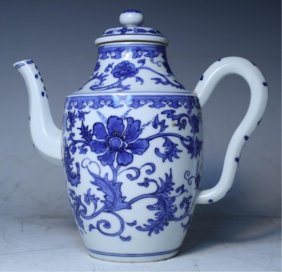 Chinese Blue & White Floral Teapot