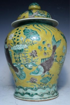 Chinese Famille Verte Porcelain Covered Jar Ming D