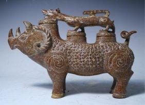 Chinese Carved Hardstone Rhinoceros