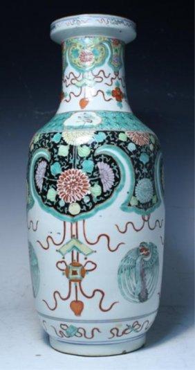 Chinese Famille Verte Vase 19th C Or Earlier