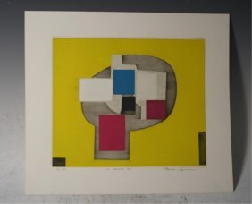 """In Yellow #2"" Silk Screen By Norio Azuma C 1970s"