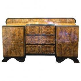 French Art Deco Burled Walnut Veneer Sideboard