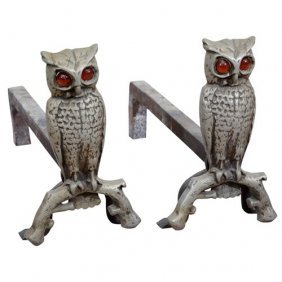 Cast Iron Owl Andirons W/ Amber Glass Eyes 1930s